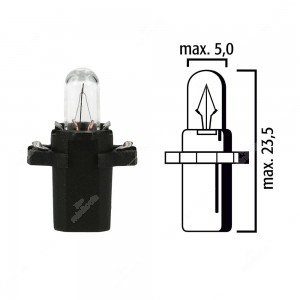 Schema lampadina per cruscotto B8,3d BAX10s 12V base nera