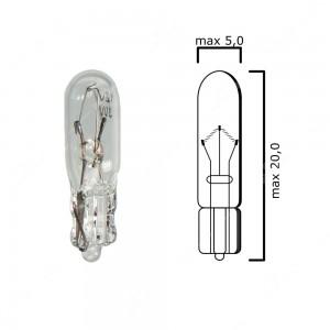 Schema lampadina con attacco in vetro W2x4,6d 12V 3W T5 per quadro strumenti