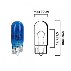 Schema lampadina blu scuro con attacco in vetro W2,1x9,5d 24V 5W T10 per illuminazione autocarro
