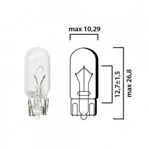 Schema lampadina con attacco in vetro W2,1x9,5d 12V 5W T10 per illuminazione auto