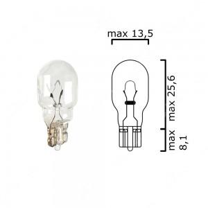 Schema lampadina con attacco in vetro W2,1x9,5d 6V 10W T13 per illuminazione auto