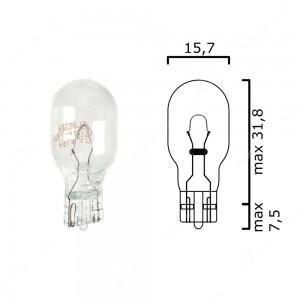 Schema lampadina alogena con attacco in vetro W2,1x9,5d 12V 16W T15 per illuminazione auto