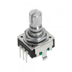 Encoder di ricambio con tasto a pressione per apparecchiature elettroniche. Dimensioni: 12,4x13,4x21,5h mm