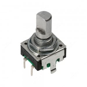 Encoder di ricambio con tasto a pressione per apparecchiature elettroniche. Dimensioni: 12,5x13,4x21,5h mm - 24 ppr - 0 fermi
