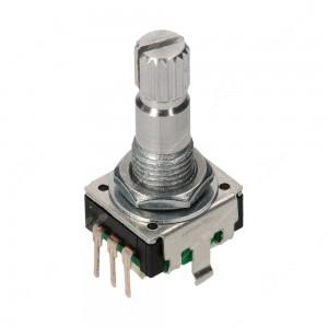 Encoder di ricambio senza tasto a pressione per apparecchiature elettroniche. Dimensioni: 12,4x13,4x26,5h mm - 24 ppr - 24 fermi - albero 20 mm