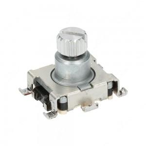 Encoder di ricambio senza tasto a pressione per apparecchiature elettroniche. Dimensioni: 15x18x14h mm - 15 ppr - 30 fermi