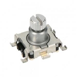 Encoder di ricambio con tasto a pressione per camper control unit VW California T5 e T6. Dimensioni: 15x18x14h mm - 15 ppr - 30 fermi