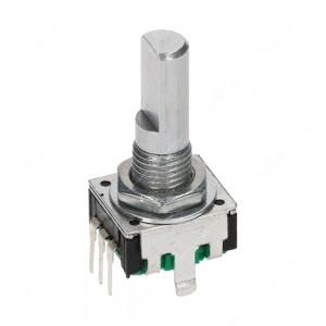 Encoder di ricambio senza tasto a pressione per apparecchiature elettroniche. Dimensioni: 12,4x13,4x26,5h mm - 24 ppr - 24 fermi - albero piatto 20 mm