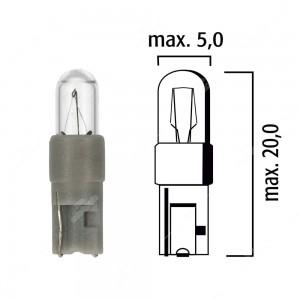 Lampadina per cruscotto W2x4,6d 12V 0,5W con base grigia - Confezione da 5 pz