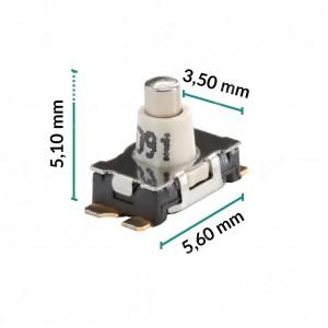 Micropulsante 5,6x3,5x5,1mm - Confezione da 10 pz (normalmente aperto)