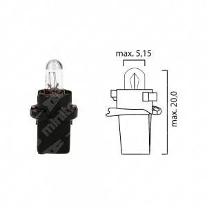Schema lampadina per cruscotto BX2d 12V base nera
