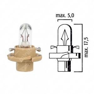 Lampadina per cruscotto BX8,4d 12V 1,5W con base beige - Confezione da 5 pz