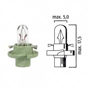 Schema lampadina per cruscotto BX8,4d 12V base verde chiaro