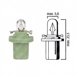 Schema lampadina per cruscotto BX8,5d 12V base verde chiaro