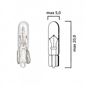 Schema lampadina con attacco in vetro W2x4,6d 12V 1,2W T5 per cruscotto