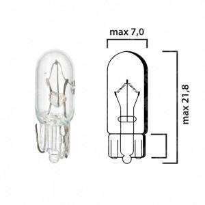 Schema lampadina con attacco in vetro W2x4,6d 12V 3W T6,5 per cruscotto