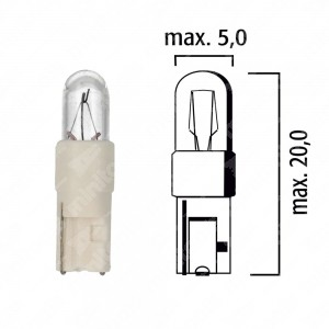 Lampadina per cruscotto di mezzi pesanti W2x4,6d 24V 1W con base bianca - Confezione da 5 pz