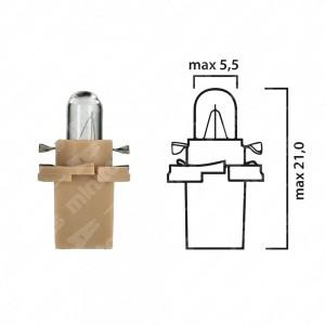 Lampadina per cruscotto di mezzi pesanti, EBS-N10 24V 1,2W con base beige - Confezione da 5 pz