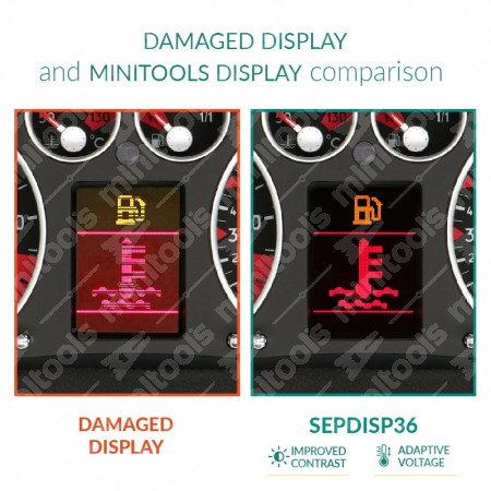 Comparison between Jaeger/Magneti Marelli and VDO original display and minitools display
