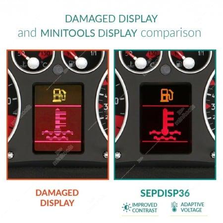 Comparison between Jaeger/Magneti Marelli and VDO original display and minitools display