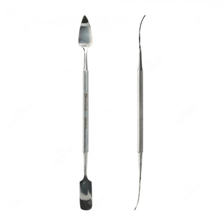 Spudger with long, curved, triangular tip and with long, curved, rounded tip