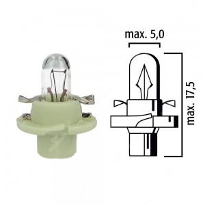 Schema lampadina per cruscotto B8,4d 12V base verde chiaro