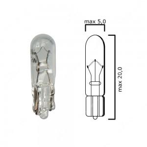 Bulb glass wedge base, W2x4,6d 6V 1,2W T5 - Pack of 5 pcs