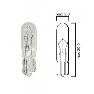 Bulb glass wedge base W2x4,6d 12V 2W T5 - Pack of 5 pcs