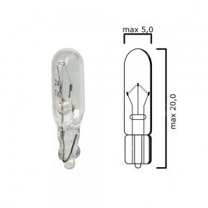 Bulb glass wedge base W2x4,6d 24V 1W T5 - Pack of 5 pcs