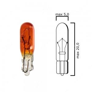 Amber bulb glass wedge base W2x4,6d 12V 2,3W T5 - Pack of 5 pcs