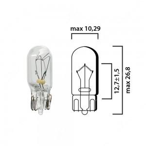 Bulb glass wedge base W2,1x9,5d 24V 3W T10 - Pack of 5 pcs