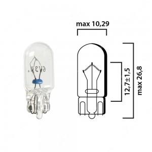 Bulb glass wedge base W2,1x9,5d 6V 3W T10 - Pack of 5 pcs