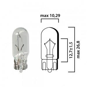 Bulb glass wedge base W2,1x9,5d 12V 3W T10 - Pack of 5 pcs