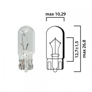 Bulb glass wedge base W2,1x9,5d 12V 2W T10 - Pack of 5 pcs