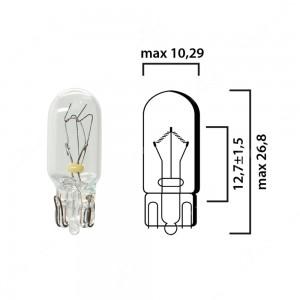 Schema lampadina con attacco in vetro W2,1x9,5d 24V 5W T10 per illuminazione autocarro