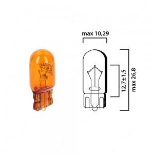 Schema lampadina ambrata con attacco in vetro W2,1x9,5d 12V 5W T10 per illuminazione auto