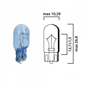 Schema lampadina blu con attacco in vetro W2,1x9,5d 12V 5W T10 per illuminazione auto