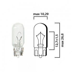 Schema of T10 cars interior bulb glass wedge base W2,1x9,5d 12V 5W