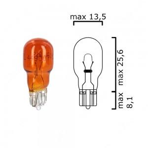 Amber bulb glass wedge base W2,1x9,5d 12V 10W T13 - Pack of 5 pcs
