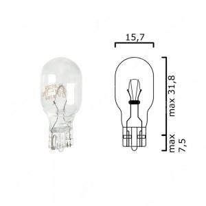 Bulb glass wedge base W2,1x9,5d 13V 6CP T15 - Pack of 5 pcs
