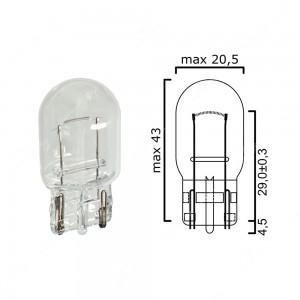 Bulb glass wedge base W3x16d 12V 21W T20 - Pack of 5 pcs