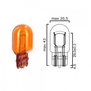 Bulb glass wedge base W3x16q 12V 21/5W T20 amber - Pack of 5 pcs