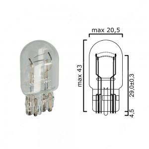 Bulb glass wedge base W3x16q 12V 21/5W T20 - Pack of 5 pcs