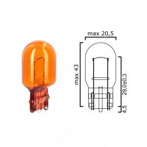 Bulb glass wedge base WX3x16d 12V 21W T20 amber - Pack of 5 pcs