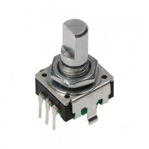 Encoder di ricambio con tasto a pressione per apparecchiature elettroniche. Dimensioni: 12,5x13,4x21,5h mm - 18 ppr