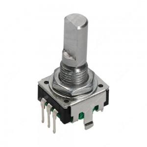 Encoder di ricambio senza tasto a pressione per apparecchiature elettroniche. Dimensioni: 12,5x13,4x26,5h mm - 24 ppr - 24 fermi