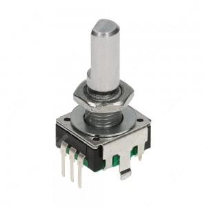 Encoder di ricambio con tasto a pressione per apparecchiature elettroniche. Dimensioni: 12,4x13,4x26,5h mm - 24 ppr - 24 fermi