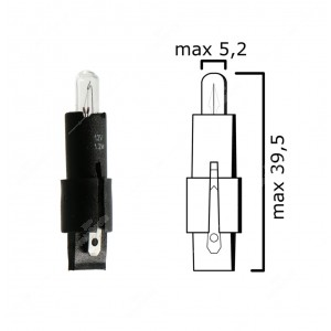 Dashboards lamp SG8-5,5d 12V 1,2W, colour: black - Pack of 5 pcs