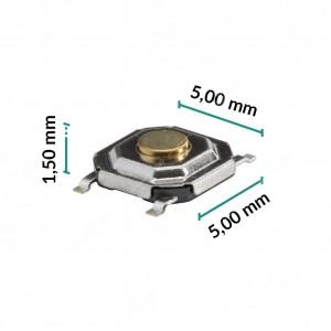 0 Pulsante 5x5x1,5mm - Conf. da 10 pz (normalmente aperto)