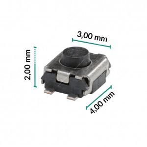 0 Pulsante 3x4x2mm - Conf. da 10 pz (normalmente aperto)